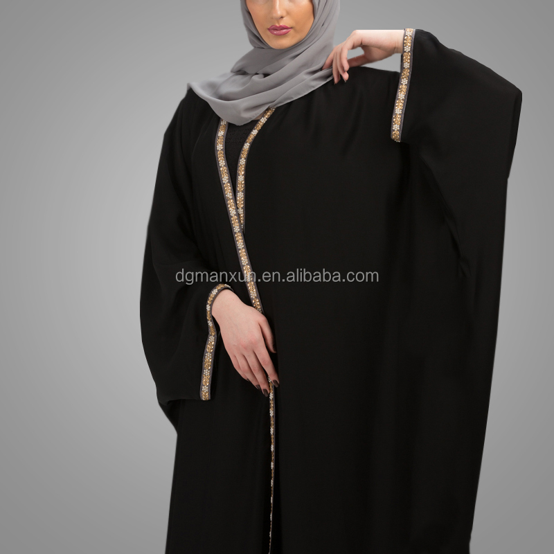 Modern Fashion Dubai Style Muslim Abaya Long Sleeve Hot Sell Black Abaya Simple Style Lace Kimono