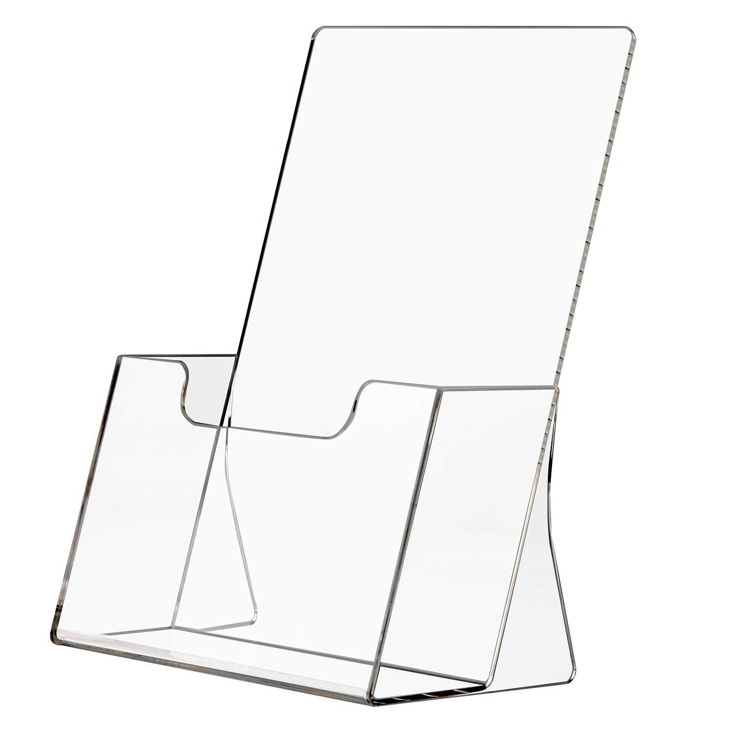 NIUBEE Clear Acrylic Trifold Brochure Holder,Plastic Counter Top Literature Flyer Booklet Catalog Display Holder - Unbreakable Box Package(4'' Wide,2 Pack)