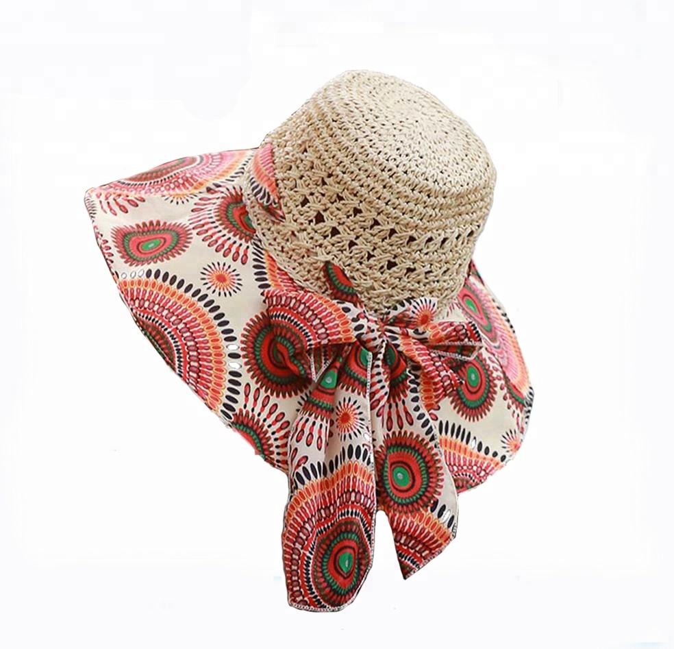 Fashion Sun Hat Women Summer Straw Hats Printing Adjustable Ecology cap  Foldable Women Beach Hat ffb2ffb27dd