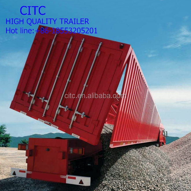 Hot sale man diesel tipper truck capacity side dump semi trailer hot sale