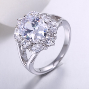 jewelry zhefan China manufacture white zircon engagement rings with cheapest price sample market jewelry
