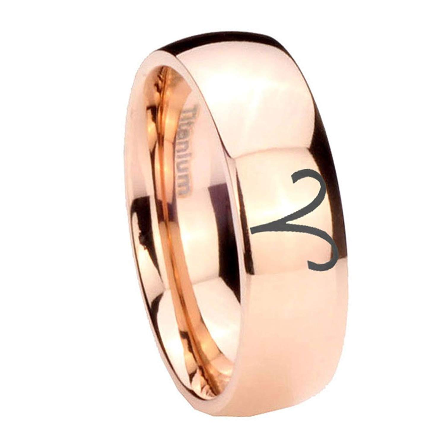 Size 4 to 13 6MM, 8MM Gold IP Titanium Gemini Horoscope Dome Engraved Ring