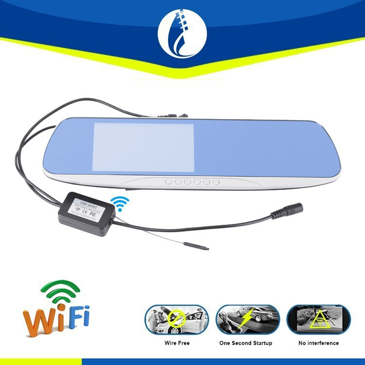wire free 5.0 inch Android GPS DVR 2.4G wireless WiFi Waterproof auto DVR rearview mirror