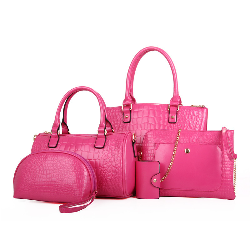 5pcs In 1 Set Price Tote Lady Handbag Woman Bag Leather Material