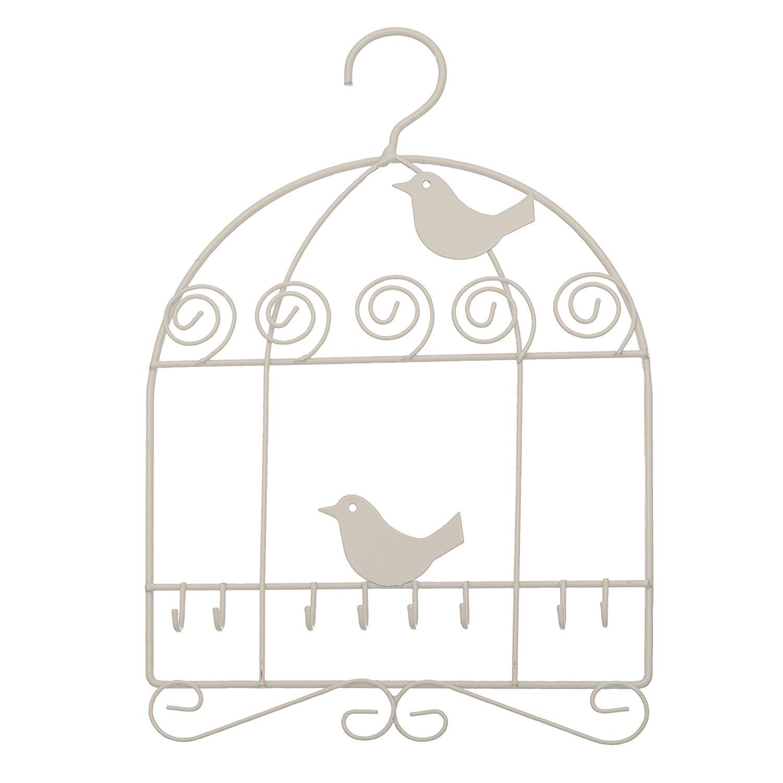 Multi Hook Hanging Closet Jewelry Organizer ~ Jewelry Hanger (White  Birdcage)