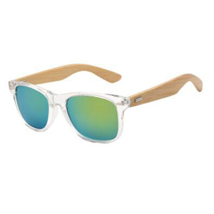 Wide Temple Men Sun Glasses Black Color Bamboo Sunglasses UV400 Protect Rivet Green Mirror Lens Hiking Eyewea