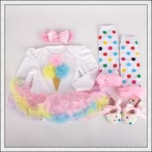 4 PCs por Set Rainbow Sorvete Sapatos Headband do Bebê Meninas Mangas Compridas Vestido Tutu Leggings para 0-12months Frete Grátis