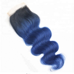 Chison hair Wholesale high quality 9a grade lace closure dark blue black braiding hair