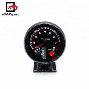 Carbon Fiber RPM Gauge Tachometer 3.75inch 80mm 0-8000 RPM With Shift Light Mounting Bracket Auto Racing Car Meter