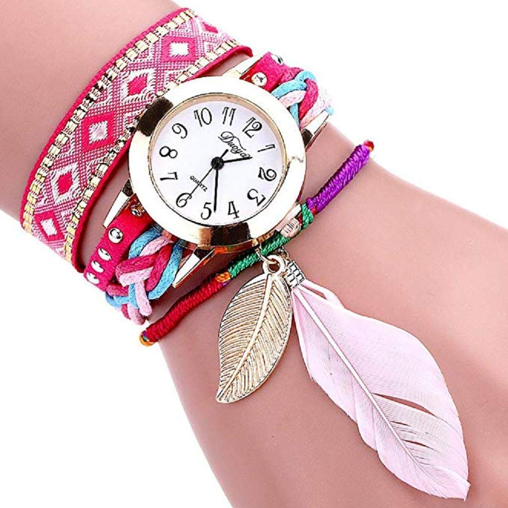 Big Promotion Windoson Women Quartz Watches Clearance Analog Ladies Watches Girl Watches Leather Female Watches (Red)
