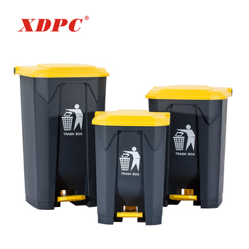 Best price 50l 100l middle foot pedal plastic waste bin garbage can trash recycling can office dustbin