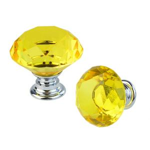 30mm Diamond Crystal Cabinet Knobs Drawer Dresser Cupboard Wardrobe Pulls Handles Yellow
