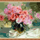 GX8052- 40*50 yiwu city supply handmade 100% flower oil painting by numbers for decor