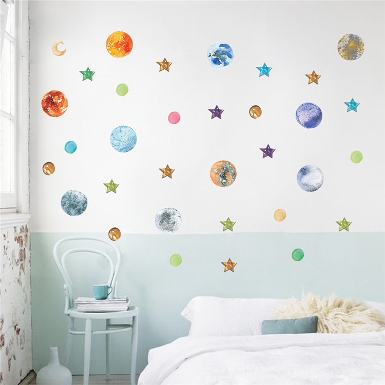 Cosmic spacesolar system milky way wall sticker art for kids kindergarten decorative decal fluorescent stars moon constellations