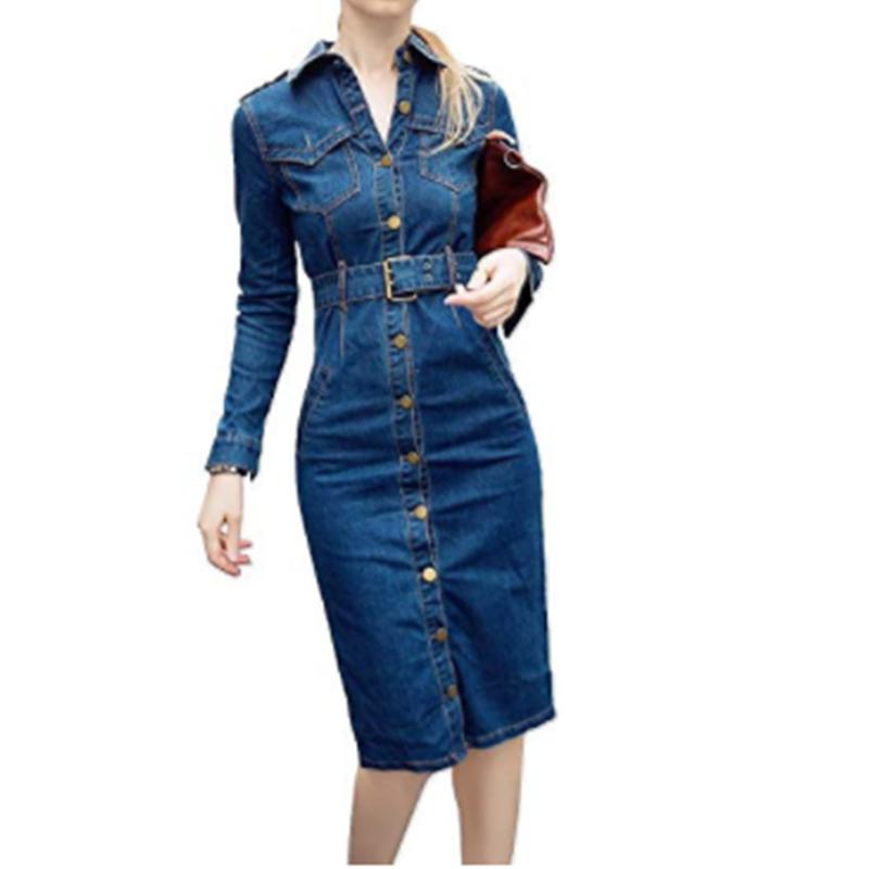 Women's Denim Long Sleeve Shirt dress Vintage Dress Bodycon Dress for men
