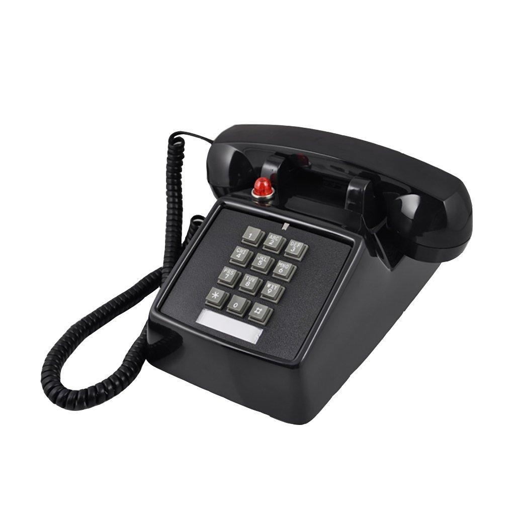 retro Telephone Retro Telephone Vintage Button Antique Vintage Landline Antique Fashion Creative Telephone European Mechanical Ringtones ( Color : Black )