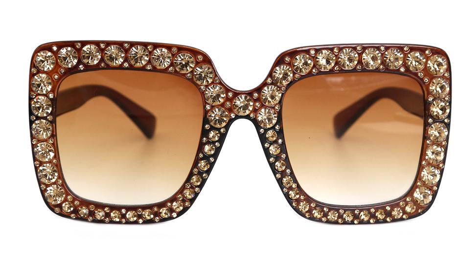 7c819a31e556b 2018 Marca Design Quadrado Strass Diamante do Vintage óculos de Sol Grandes  Óculos de Sol Óculos