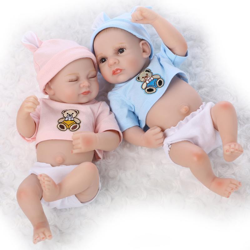 Vinyl Silicone 22 inch Reborn Doll Boy+Girl Twins Newborn Baby Doll Toy Handmade