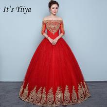 Женское свадебное платье It's YiiYa, красное винтажное платье с вышивкой и вырезом лодочкой в пол, Vestidos De Novia XXN199(China)