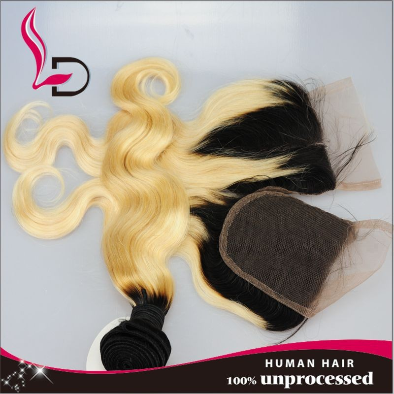 Indian straight virgin hair extension and middle part lace closure mixed natural color 100% unprocessed free shipping