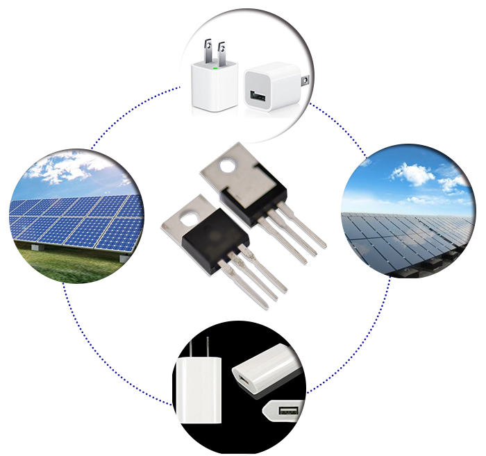 Low power loss 20A 100V surface mount solar schottky diode