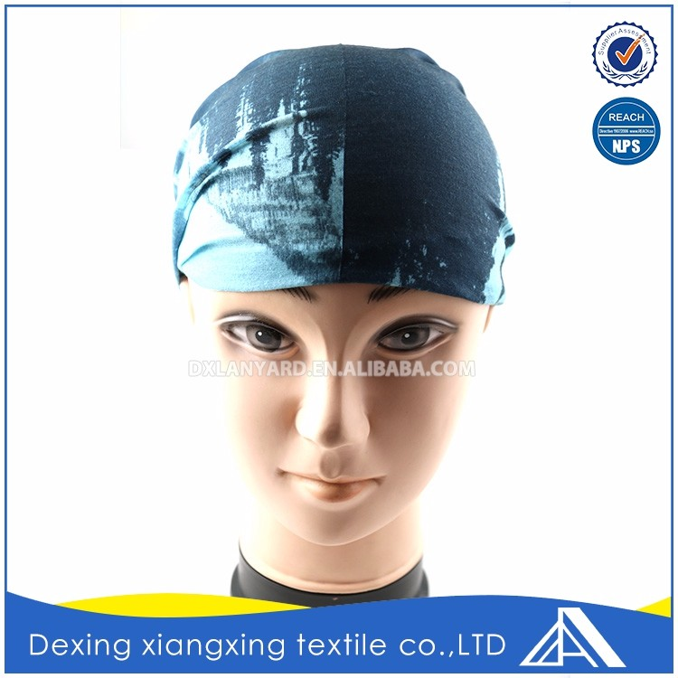 Design customize oem headwear multifunctional landscape painting blue and buy black bandana