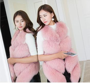 Ladies Luxury Womens Real Rabbit fur withLamp woll Fur Vest Pink
