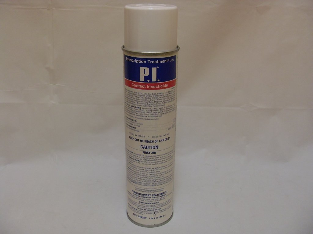 PI Aerosol - 18 oz. P.I. Contact Insecticide provides excellent knockdown, kill and flushing. This aerosol is the ideal product for heavy infestations where high insect populations are found and immediate results are needed....Angoumois Grain Moths, Ants, Bed Bugs, Booklice, Carpet Beetles,