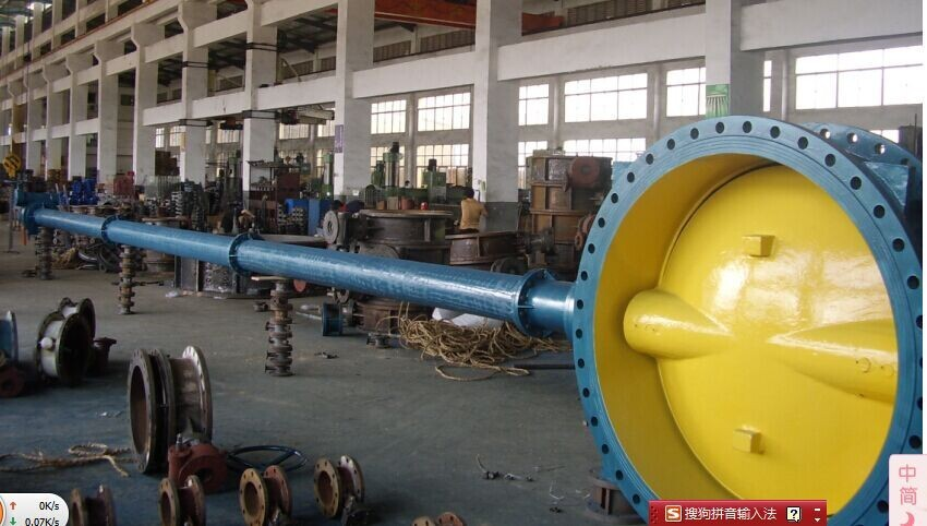Double flanged butterfly valve with long extension spindle