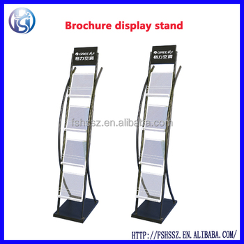 Iron Steel Portable Magazine Display Stand Outdoor Brochure Holder Hs Zl09