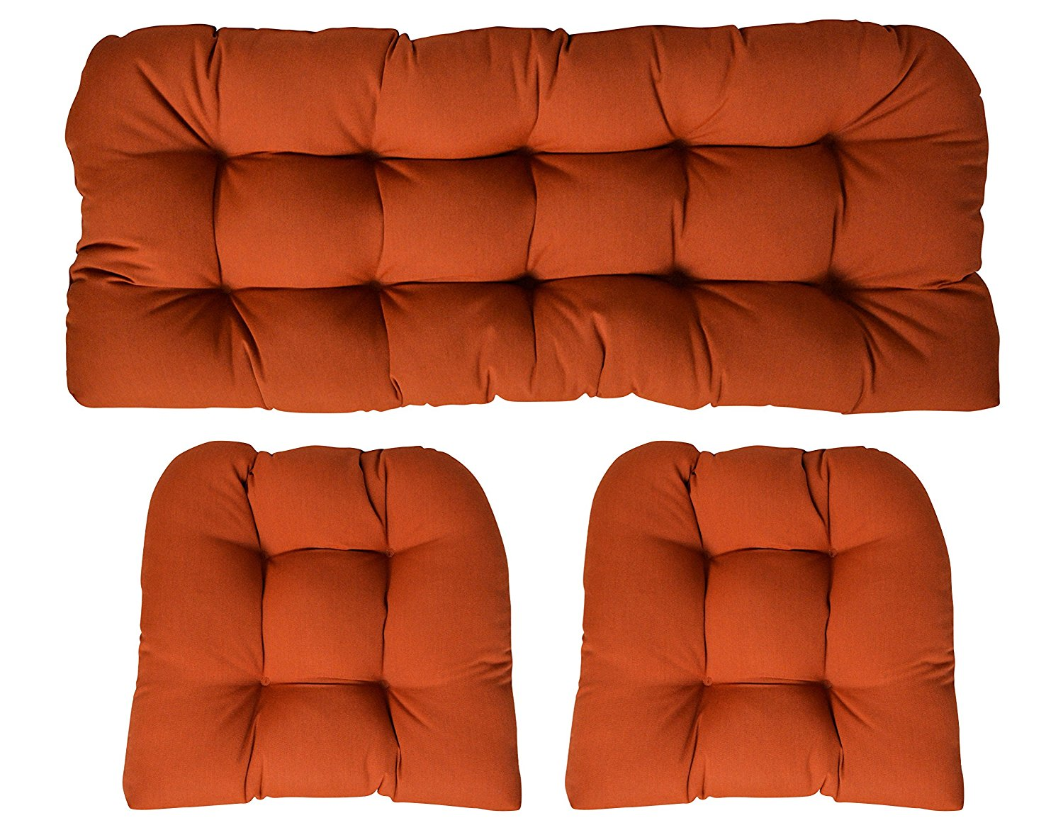 RSH Decor Sunbrella Canvas Rust 3 Piece Wicker Cushion Set - Indoor/Outdoor Wicker Loveseat Settee & 2 Matching Chair Cushions
