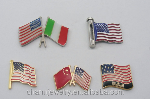 OEM <strong>Iron</strong> stamped soft enamel metal lapel pin with flag pin design