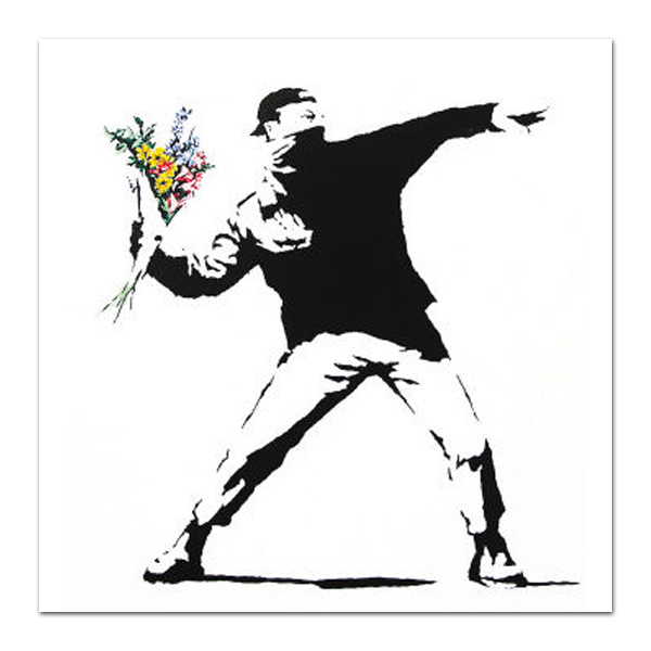 Large Size Hand Reproduce Banksy Canvas Painting for Online Shop