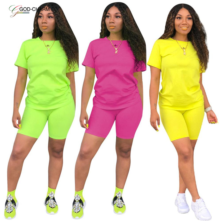 *GC-70921 2020 new arrivals Wholesale African Wholesale sexy Summer sport custom neon green women designer track jogging suit