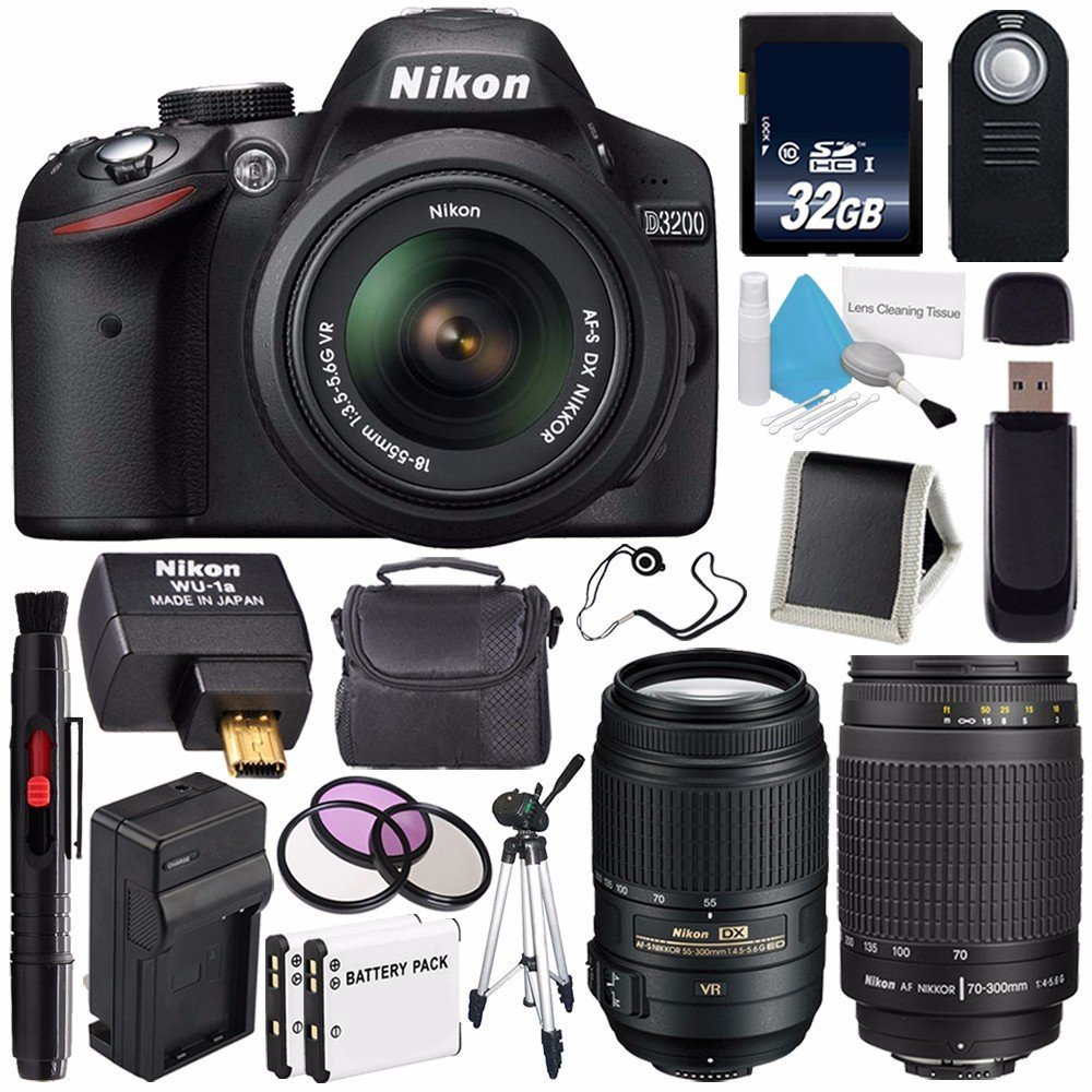 Nikon D3200 Digital Camera w/ 18-55 VR II Lens (International Model No Warranty) + Nikon 70-300mm f/4.5-5.6G ED IF AF-S Nikkor Zoom Lens + Nikon AF-S DX 55-300mm f/4.5-5.6G ED VR Lens Bundle 144