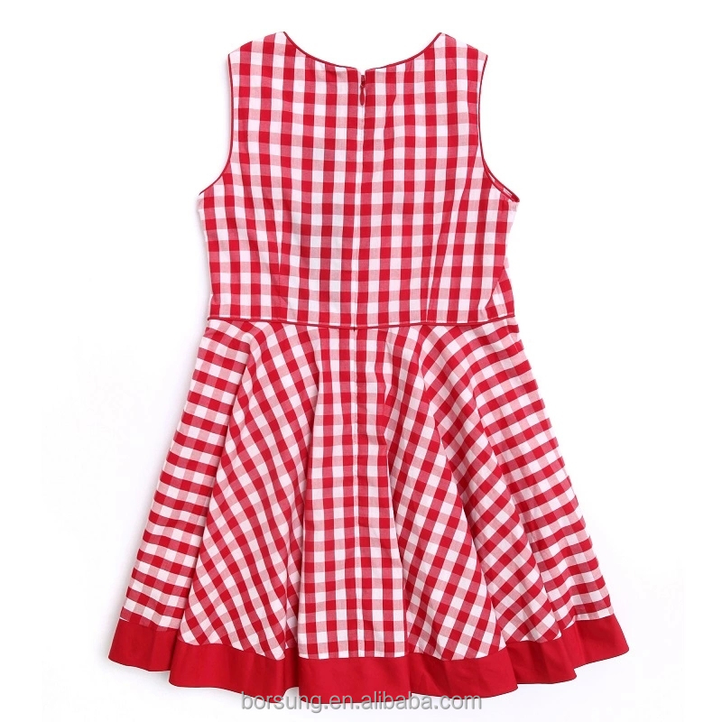2015 children cotton frock designs red plaid sleeveless for Children s cotton dress fabric