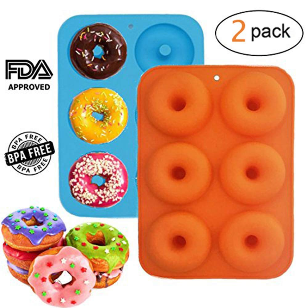 Donut Pan Molds,Bagvhandbagro Food Grade Silicone Mold,Non-Stick Safe Baking Pans,Bake Full Size Perfect for Cake Biscuit Bagels Muffins,2 Pack,Color Random