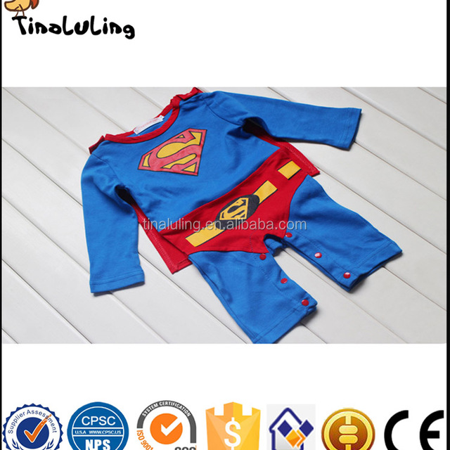2427f51d5 Baby Boy Romper Superman Long Sleeve with Smock Halloween Christmas Costume  Gift Boys Rompers Spring Autumn