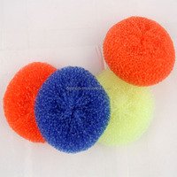 2015 hot selling products with plastic handle mesh scourer for kitchen cleaning