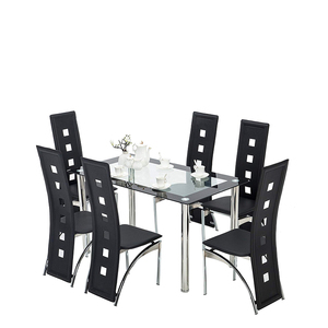 dining room furniture modern stainless steel dining table set group creative restaurant group PU leather chair dining table set