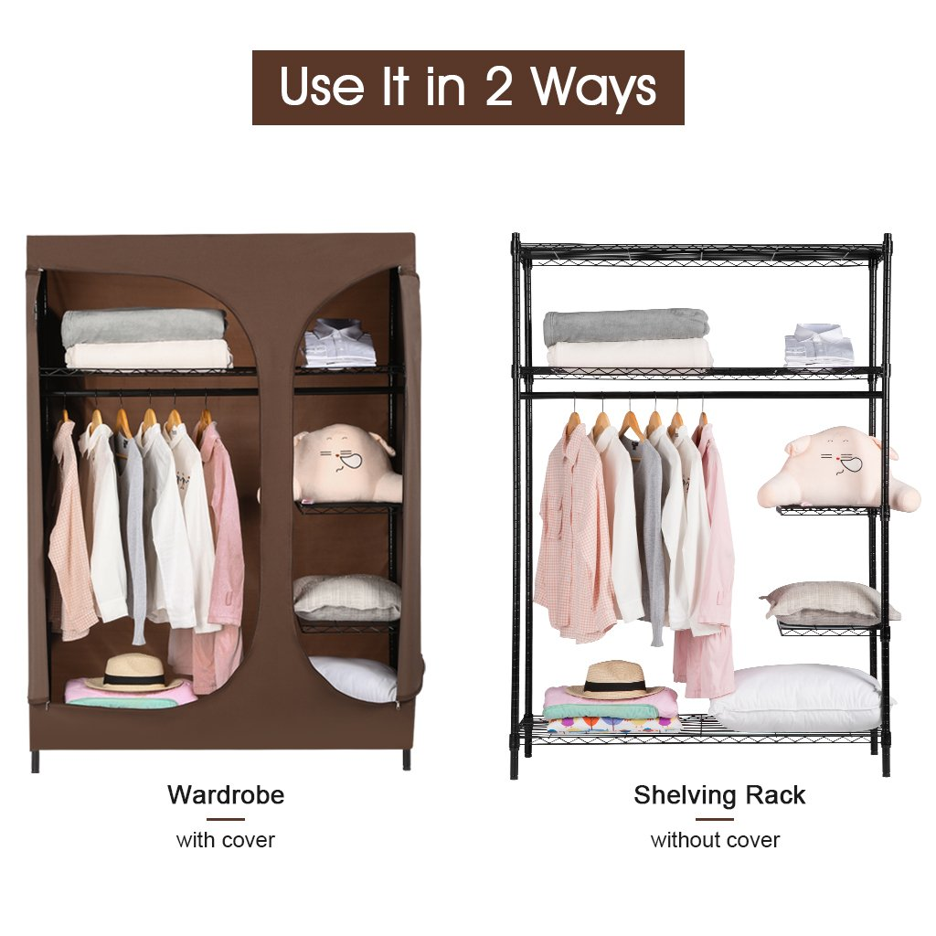 Get Quotations Langria Heavy Duty Wire Shelving Garment Rack Clothes Portable Closet Wardrobe Compact
