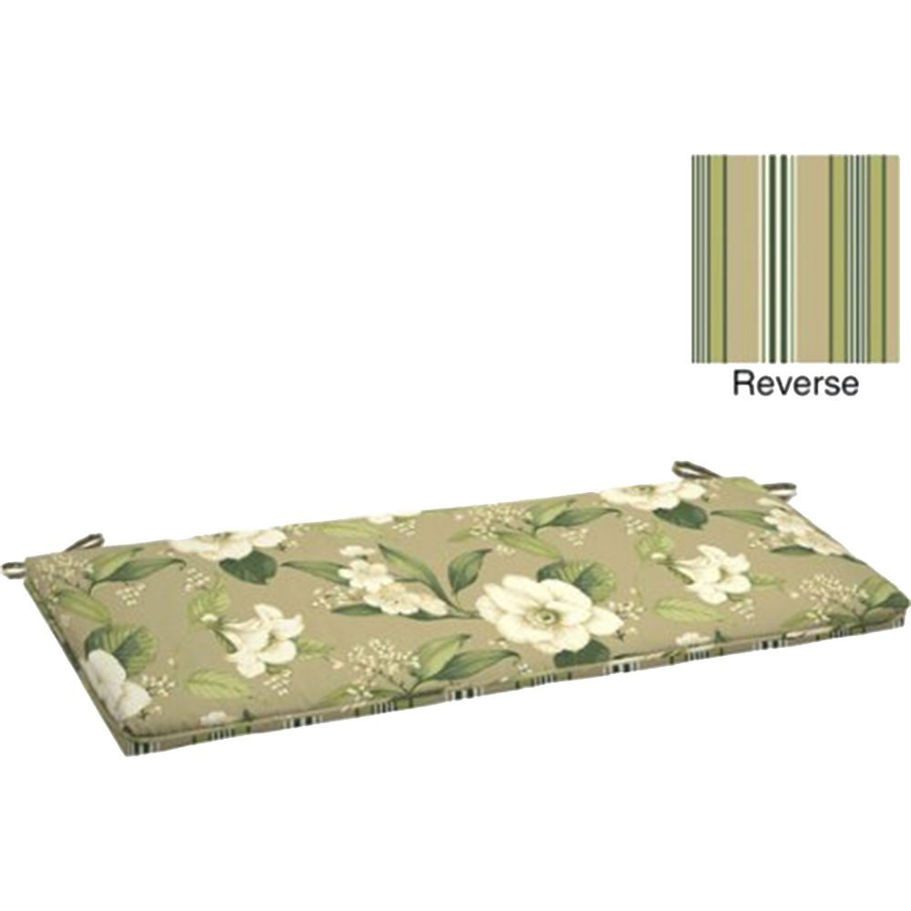 """Outdoor Bench Cushion with Welt 46""""L x 17""""W x 2.75""""H. Polyester fabric Allie Tan Floral by Comfort Classics Inc."""