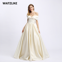2018 High Quality Sexy Satin fashion style off shoulder wedding dress bridal gown Simple Prom Dress for Evening Party
