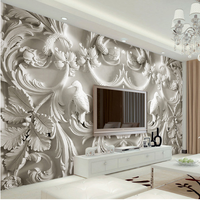 Classical White Italian Style Relief Soundproof TV Background Wallpaper