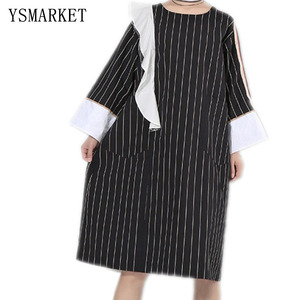 European Clothing Women New Fashion Striped Dress Vintage Casual Ladies Office Work Wear Autumn Dresses Loose Full Sleeve E5818