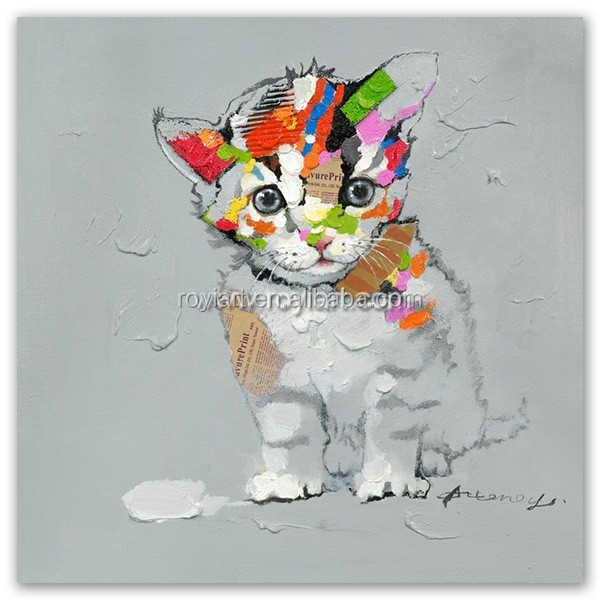 Hand Painted Cat Oil Paintings Modern Abstract Animals Pictures Home Decor Hang Paintings Wall Art