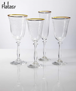 Good quality vintage design gold rim and silver rim non lead crystal champagne glass for wedding and party