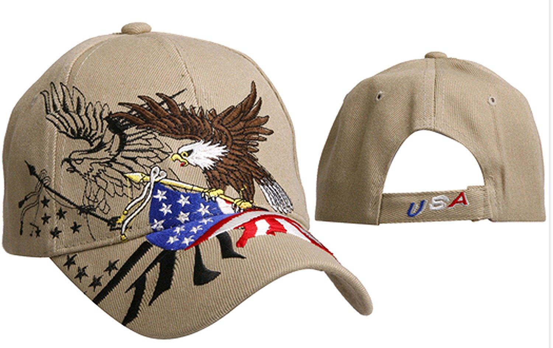 0e5f8fe5af1 Patriotic American Bald Eagle USA Tan Baseball Cap Khaki Beige with Black Hat  American Flag Colors