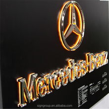 Custom indoor outdoor 3D car logo with brand name LED backlit metal letter light sign