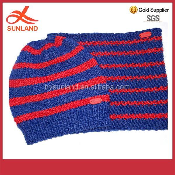 64eca0fa26e Fashion design Children s set beanie scarf Snood cap muffler red and blue  stripes 100%Merino